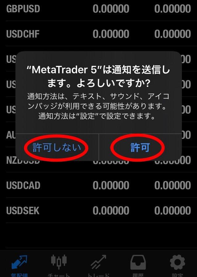 MT5の通知設定