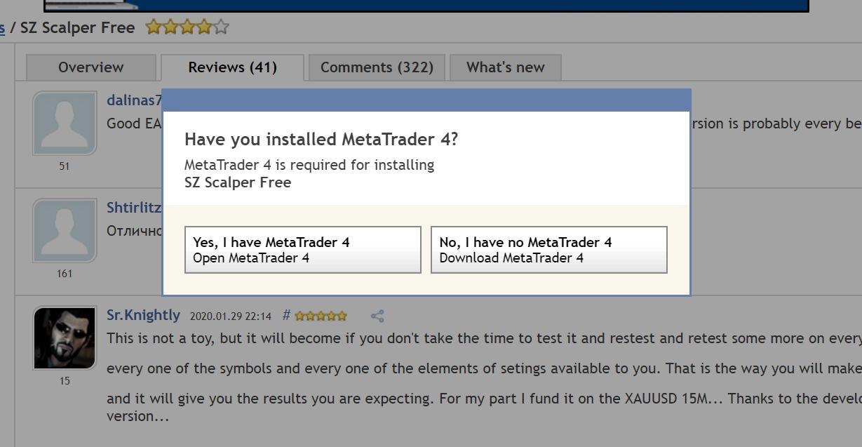 SZ Scalper FreeをインストールするにはMT4が必要
